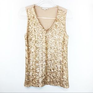 Pleione Gold Sequin Tank Top Shirt Size Medium
